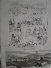 Turkey redifs camp Banjaluka & fort at Unna Herzegovina 1875 old prints