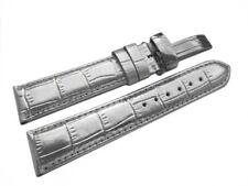 Uhrenarmband mit Kippfaltschließe - Leder - Kroko - silber - 18,20,22,24 mm