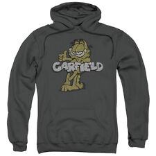 Garfield Retro Garf Mens Pullover Hoodie Charcoal
