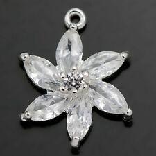 Rhinestone Crystal Silver Plated Pendants Charms Wedding Embellishment Beads