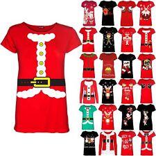 Womens Christmas Ladies Santa Beard Costume Ribbon Belted Cap Sleeve TShirt Top