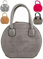 Women's Designer Style Croc Print Fashion Bucket Shoulder Mini Clutch Purse Bag