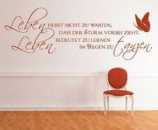 g300 Spruch Wandtattoo  Leben heisst nicht warten Sticker Wandaufkleber Zitat 1