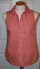 Lands End Women's Plus Sleeveless No Iron Shirt Bright Tomato New
