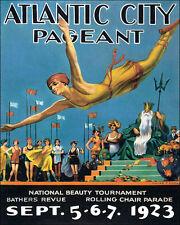 POSTER ATLANTIC CITY PAGEANT BEAUTY TOURNAMENT SWIM DIVE VINTAGE REPRO FREE S/H