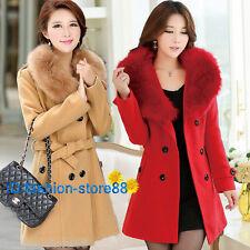 New Arrival winter Womens Fur collar wool long jacket Coat outwear trench Woolen