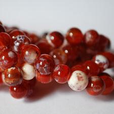 """16 """"perles Semi-Précieuses Gemmes feu Agate perles rondes de 4mm 6mm 8mm 10mm gradea +"""