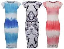 New Ladies Sleeveless Tie Dye Knee Length bodycon Women's Dress