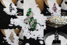 Anello Donna argento Sterling 925 Smeraldo Morganite Zaffiro,Topazio blu,rubino