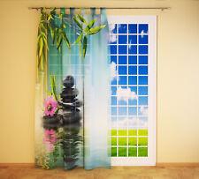 """Foto Schlaufenschal Vorhang Gardine """"Steine Orchidee Bambus"""""""