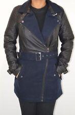 Nueva camiseta para mujer azul marino y negro imitación cuero e imitación de lana abrigo en tamaños 8 10 12 14 16