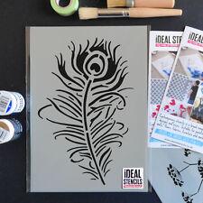 Peacock Feather Quill Stencil Wall Home Dã cor Paint Reusable Ideal Stencils Ltd