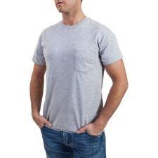 Gildan Bolsillo Camisetas 6-pack Hombre Negro y Gris Cuello Redondo M-XL