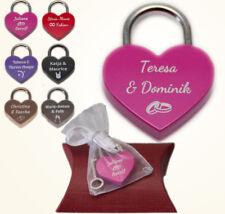 Herz Liebesschloss mit Wunschtext; 2 Schlüssel; Organzabeutel + Kissenverpackung