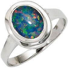Ring Damenring mit Opal Opaltriplette oval blau-grün 585 Gold Weißgold Goldring