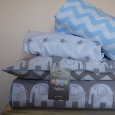 100% COTTON Cot Bed Duvet Cover Set Grey Elephant Chevron bedding baby boy blue