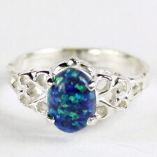 • SR302, 8x6mm Created Blue Green Opal, 925 Sterling Silver Ladies Ring-Handmade