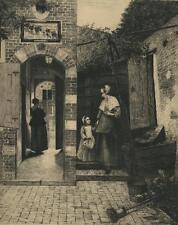 ANTIQUE DUTCH GARDEN COURT YARD HOUSE HOLLAND MOTHER GIRL PIETER DE HOOGHE PRINT