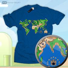 Mario fan shirt super zelda world map vidéo Gamer style nerd star link sonic nes snes