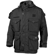 MFH Commando Jacket Tactical Hood Ripstop Police Security Mens Smock Coat Black
