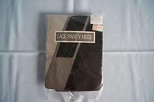 NOS vintage Sheffield black lace sheer to waist pantyhose nylon size B Kohls NWT