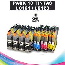 10 Cartuchos compatibles NonOem BROTHER LC121 LC123 XL DCP-J152W con chip