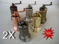 """2 PIECES (2X) TURKISH PEPPER SALT GRINDER COFFEE SPICE GRINDER MILL ( 4.2"""" )"""