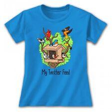 Twitter Feed T-shirt S M L XL XXL Cotton Blue Nature Ladies Cut Birds Sapphire