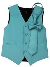Boy's Teal Satin Formal Dress Tuxedo Vest, Tie & Bow-Tie Set. Wedding