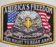 2ND AMENDMENT PATCH - AMERICA'S FREEDOM - USA FLAG - EAGLE - GUNS - KEEP & BEAR