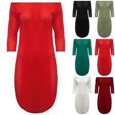 Womens Ladies 3/4 Sleeves Off The Shoulders Bardot Curved Hem Mini Bodycon Dress