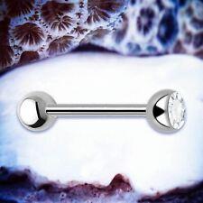 BASIC TITANIUM Tongue Bar Silver Barbell Crystal Tongue Piercing Barbells Ring