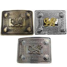 Kilt Boucle de ceinture Dragon Gallois en laiton antique/Chrome/Or Finition Kilt Belt Buckles