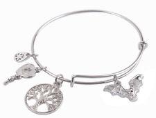 1PCS Silver Tone Expandable Wire With Fashion Charm Bracelet Bangle