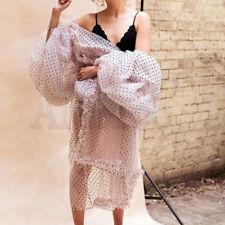 Womens Puff Sleeve Tulle Lace Dress Falbala Jacket Long Wave Point Ruffle Coat