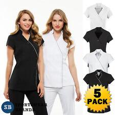 5 x Ladies Zen Crossover Tunic Chemist Beauty Salon Spa Wear Wrap Womens H134LS