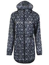 Womens Navy Line Rain Mac RainCoat Festival Jacket Kagool Showerproof *LICK*