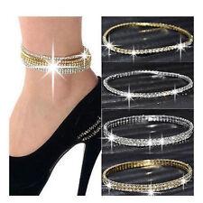 NEW Silver Gold Women Crystal Rhinestone Stretch Ankle Anklet Bracelet UK
