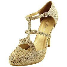 New women's shoes evening rhinestones buckle closure high heel gold wedding