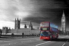 Red Bus Westminster Bridge Houses of Parliament Big Ben London Photograph Print