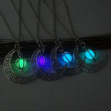 4 Colors Moon Glowing Pumpkin Necklace Glow In The Dark Pendant Luminous EA C6