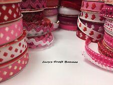 1.8m longueur love valentine ruban. 24 designs rouge rose. ric rac, coeurs, sparkle