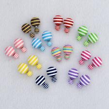 Double sided Striped Faux Pearl Stud Earring