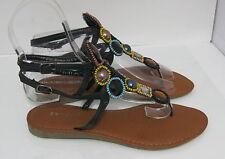Summer blacks NEW WOMEN FASHION BEADED Gladiator SANDALS  SIZE  6.5