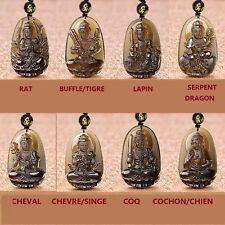Pendentif Bouddha Guanyin Zodiaque en Obsidienne Noire Translucide avec Chaine