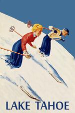 Couple Ski Skiing Lake Tahoe American Winter Sport Vintage Poster Repro FREE S/H