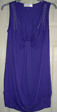 Internationale Purple & Silver Studded, Long Vest Top size 10
