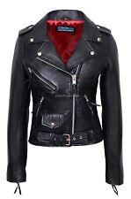 Ladies Brando Valentines Leather Jacket Black Red Linings REAL NAPA LEATHER MBF