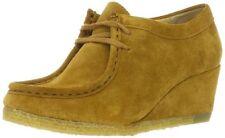 Signore Clarks Originals Yarra APE beige scamosciati zeppa lacci scarpe. Taglia 4