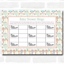 Neutral Hot Air Balloons Baby Shower Games Bingo Cards